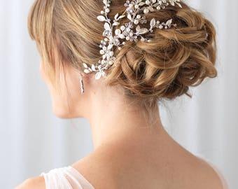 Floral Vine Bridal Clip, Rhinestone & Pearl Wedding Clip, Bridal Botanical Vine, Pearl Bridal Hair Accessory, Pearl Wedding Clip ~TC-2313