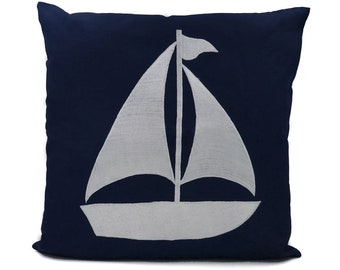 "New Fabric - Sailboat - Nautical Embroidered Pillow Cover - Fits 18""x18"" Insert - Navy - Beach / Coastal / Nursery Decor (READY TO SHIP)"