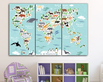 Kids room canvas etsy world map kids room art nursery art nursery print kids room print gumiabroncs Image collections