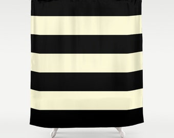 Black and Cream Stripe Shower Curtain - Chic Designer Decor  - Minimalist, bathroom, modern home, decor