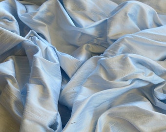"Iridescent Baby Blue Dupioni Silk, 100% Silk Fabric, 44"" Wide or 54"" Wide, By The Yard (S-206)"