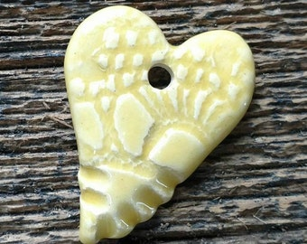 Ceramic Pendant, Ceramic Heart, Heart Pendant, Yellow Heart, Yellow Pendant, Pottery Charm, Pottery Pendant, Yellow Heart