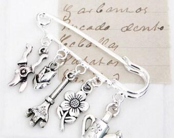 Flower Gardening Charm Brooch - Gardening Pin - Gardening Gift - Gardening Gift Ideas - Gift For Her - Shawl Brooch - Lapel Pin - Zamsoe