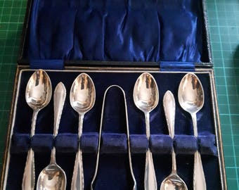 Electro Plated Nickel Silver Tea Spoons and Sugar Tongs in Presentation Box