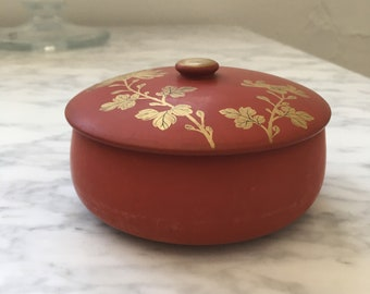vintage japanese wooden lacquerware container with lid