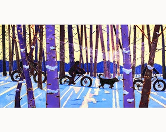 Fat Tire Bicycle, Fat Bike Painting, Alaska Winter Biking Painting, Scott Clendaniel, Solstice Art, Sun through Trees, Biking and Dogs Art