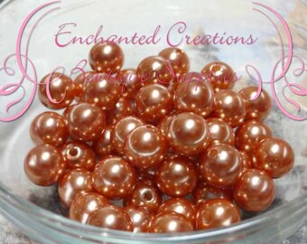 10mm Toffee Tan Acrylic Pearl Beads Qty 50