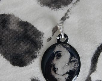 Hand Painted Acrylic Pendant - Woman's Profile