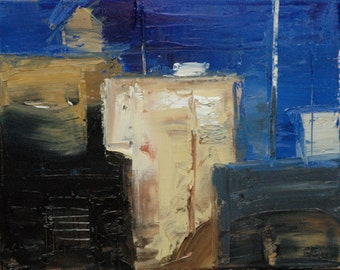abstract 13. 8X10 Original abstract landscape oil painting, Urban abstract, Fine art, City.