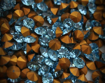 1100 22ss Genuine Swarovski Crystals Aquamarine Rounds Foiled Rhinestones 20pcs