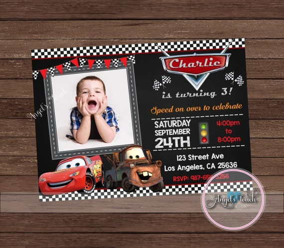 Cars Party Invitation Disney Cars Birthday Invitation Cars