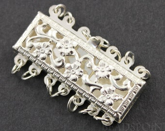 Sterling Silver Rectangle Filigree Clasp with 7 Ring,1 Piece, Sold INDIVIDUALLY, Just buy as many you need,(SS/960/7)