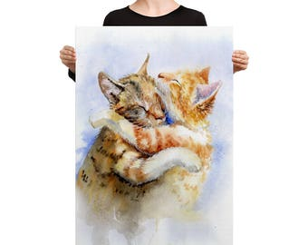 Cat Hugging Canvas