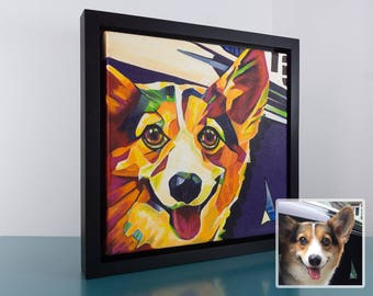 8in x 8in – Custom POP ART, ABSTRACT Pet Portrait Painting from Photo, Pet Oil Painting, Cat Painting, Memorial, Time-Lapse, Frame Included