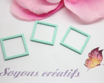 5 connectors charms square 18mm - creating jewelry - Mint