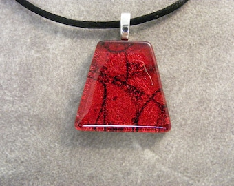 Red Dichroic Pyramid Shaped Pendant