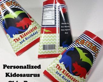 """Personalized DIGITAL """"Kidosaurus"""" Chip Bags"""