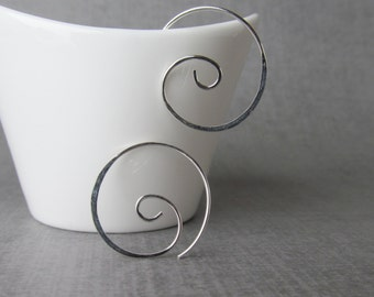 Spiral Earrings Silver, Spiral Hoops, Sterling Silver Spirals, Modern Hoop Spiral Earrings, Minimalist Earrings, Wire Hoop Spirals, wearever