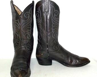 Steel Grey Cowboy boots mens size 11 B - Dan Post - narrow - western wear