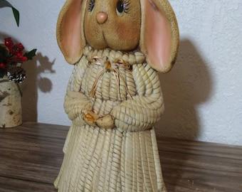 """Antique Vintage 12.5"""" Bunny Basket Weave Dress Molded Ceramic Figurine Statue"""