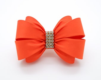 Orange Bow Hair Clip, Girls Bow, Red Bow Hair Clip, Wedding Hair Clip, Toddler Hair Clip, Rhinestone Bow, Flower Girl Bow, Big Bow, 1367