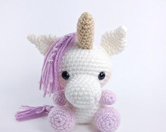 PATTERN: Udele the Baby Unicorn - crochet unicorn pattern - amigurumi unicorn pattern - crocheted unicorn - PDF crochet pattern - English