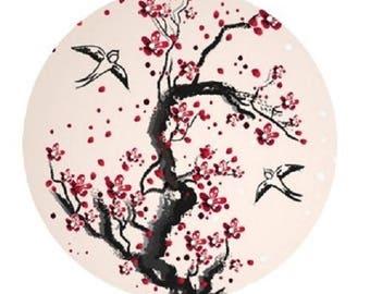 cherry tree and birds, 25mm