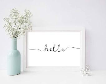Hello Monochrome Typography Print