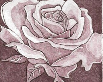 Rose Aquatint Etching- Romantic Classic Realism-Print-AP1- 7 x 9 inch