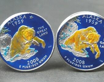 USA Quarter coin cufflinks  Alaska   state   quarter 24mm