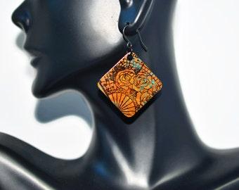 Bohemian Earrings, Turquoise earrings, copper earrings, floral earrings, patina earrings, dangle earring, japanese earrings, rustic earrings