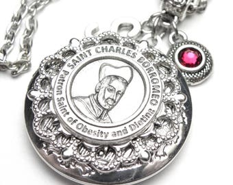 Obesity & Dieting Patron Saint Charles Borromeo Locket Antique Silver Necklace, Custom Birthstone and Initial Letter, Catholic Gift