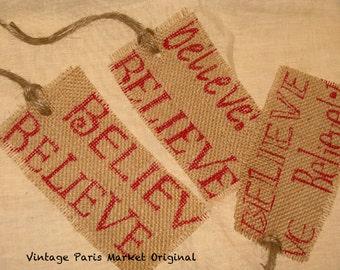 Believe Old World Vintage Style Burlap Christmas Gift Tags Original Design