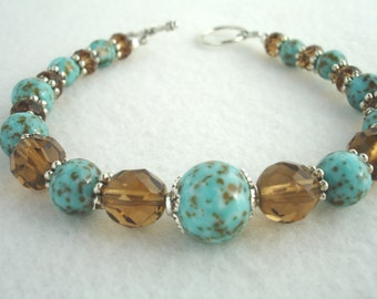 Bracelet with vintage turquoise beads and crystals, turquoise and brown, speckled turquoise beads