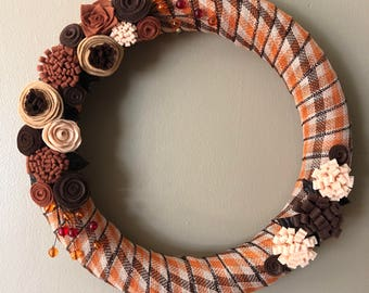 Fall plaid ribbon wrapped wreath with felt flowers