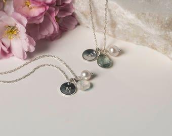 Set of 2 personalized bridesmaid necklaces, bridesmaid gifts, initial necklace with birthstone, 2 monogram necklaces bridesmaid - Ella