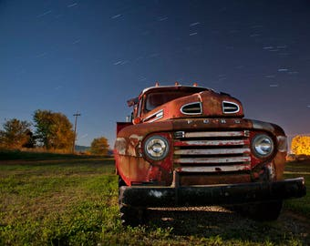 Red Ford Tanker Truck, Old Red Ford Truck, Ford Truck Photo, Night Sky, Starry Sky, Transportation Art, Rustic Fine Art, Rural Photography