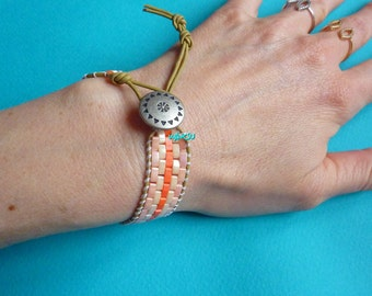 Woven seed beads and leather Wrap bracelet