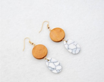 Brown wooden earrings with drops in marble look