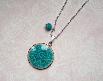 Chain cabochon porcelain Crackle turquoise
