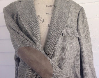 Vintage Stanley Blacker Professor's Jacket w Gray Suede Elbow Patches