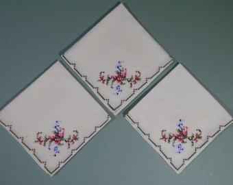 """Set of 3 Vtg 10"""" Ladies Handkerchiefs Or Cocktail Napkins Cream Color Cotton Floral Cross Stitch 1950s Needlework Midcentury Something Old"""