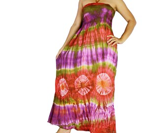 Smocked tie dye off shoulder dress tie dye cotton 2 in 1 boho  tube dress maxi summer sundress comfy beach casual dress long skirt (424)