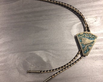 Vintage bolo/string tie Alpaca silver and turquoise slide 1970's