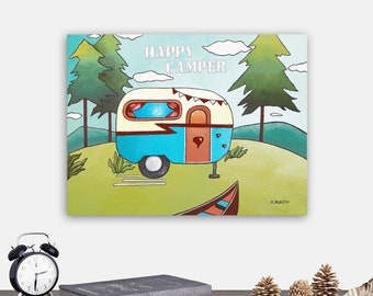 Happy Camper Original Painting Wall Art, RV Decor Canvas Art, Vintage Camper Travel Decor