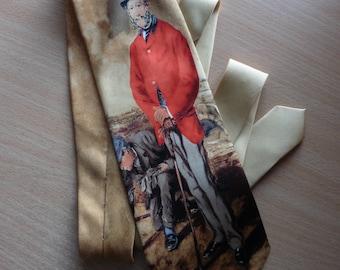 Unique vintage HAND MADE Necktie/Silk Tie/Necktie With Picture/Luxury Tie/Gift For Him