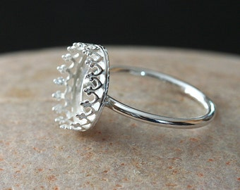 Gallery Bezel Crown Setting Ring  • 10x12 mm Oval • Sterling Silver • Ready to be Set with Your Own Stone • Supplies