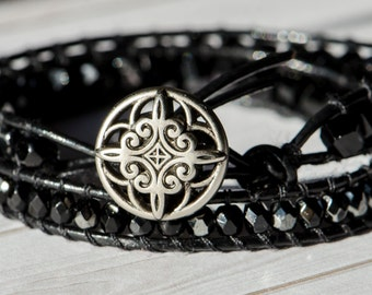Black Leather Wrap with Silver Button