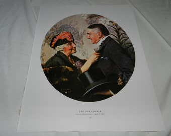 """2 Norman Rockwell Prints - The Old Couple + Mending the Flag - 1 Page from 1979 Book - Collectible + Frameable Wall Art -11.75"""" X 15""""   53-9"""