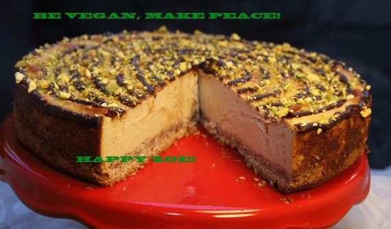 Vegan Lemon Vanilla Creamy Pistachio Cheesecake and Almond-Hazelnut crust, love, animal free cruelty,no eggs,no dairy.